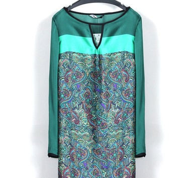 Women's Fashion Summer Vintage Print Long Sleeve One Piece Dress [4917895684]