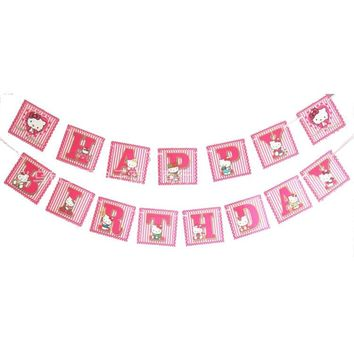 15Pcs/set hello kitty Sign Happy Birthday Banner Kids Birthday Party Garlands Banner flags Baby Shower Decoration Supplies