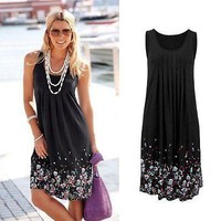 Floral Print O-Neck Summer Casual Beach Dress