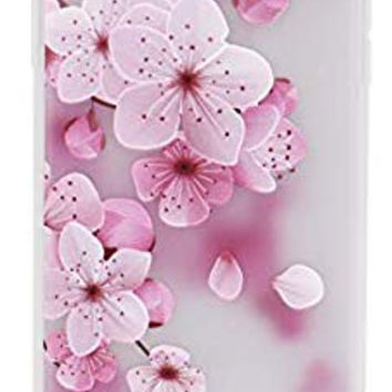 IMIFUN 3D Relief Flower Silicon Phone Case for iPhone Xs Max XR XS Rose Floral iPhone Cases Soft Frosted TPU Cover (5619, for iPhone 7 8)
