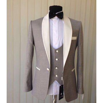 2017 New Style Gary Groom Tuxedos Shawl Collar Mens Blazer Prom Suits  (Jacket+Pants+Vest+Bow Tie) NO:396