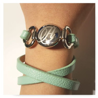 SALE White or Mint - Monogram - Monogram Bracelet - Monogram Jewelry -  Leather Bracelet - Bridesmaid Gift - Gift for her - Gift for women