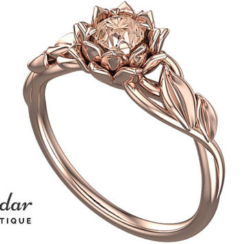 Flower Engagement Ring,Unique Engagement Ring,Gemstone Engagement Ring,Leaves,Lotus,Morganite,Solitaire Ring,floral,swirl,White gold Ring
