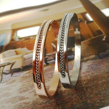 Top Quality brand letter Fashion Jewelry Cuff T Carter Bracelets Bangles 316L Stainless Steel Bracelets For Women