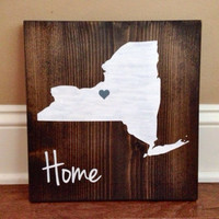 ew York Wood Sign, Custom New York Sign, Stained and Hand Painted, New York decor