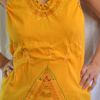 Upycled tshirt dress with triangle patterns, Backless yellow mini dress, Yellow beach dress