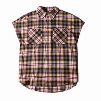 Indie Designs Fear Of God Inspired Sleeveless Tartan Flannel Shirt