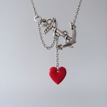 Lost Heart at Sea Necklace by SBC Antique Silver Anchor Red Heart Antique Silver Chain Made to Order