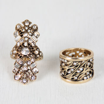 Ornate Rhinestone Ring Set