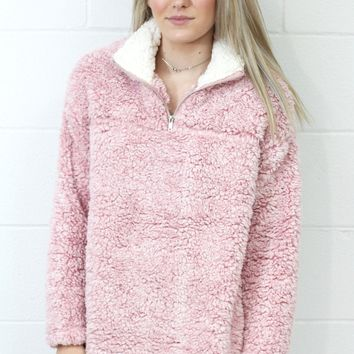 Cozy Up 2-Tone Faux Fur Zipper Pullover {Blush}