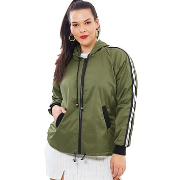 Army Green Striped Sleeve Hooded Parker Jacket