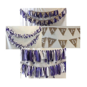 Birthday Party Banner and Garland Package, Fabric Streamer Garlands with Burlap Bunting, Wedding or Graduation Congratulations Party Pack