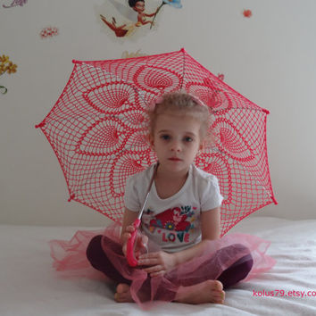 "32"" Hot Pink PINEAPPLE, Violet Lace Crochet  PARASOL, Mothers Day Barefoot Wedding UMBRELLA, Steampunk, Goth- Ready to Ship"