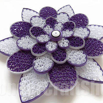 large purple flower, floral home decor, single flower, modern wall art, minimalist home decor, paper quilling art, housewarming gift