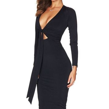 Black Multi-way Deep V Neck Knot Tie Long Sleeve Midi Dress