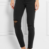 Madewell - Distressed high-rise skinny jeans