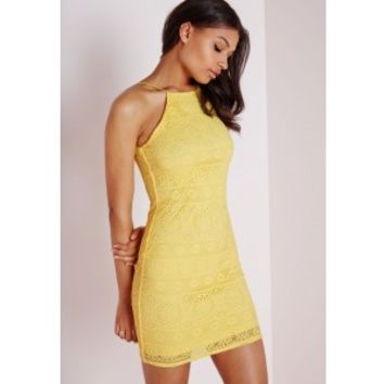 Lace Strappy Straight Neck Bodycon Dress Lemon - Dresses - Bodycon Dresses - Missguided
