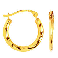 10K Yellow Gold Twisted Hoop Earrings