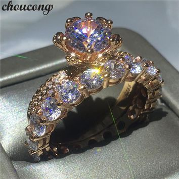 choucong Fashion Flower ring set 3ct Clear 5A zircon Cz Rose Gold Filled 925 silver Engagement Wedding Band Rings For Women Gift