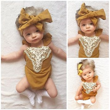 Newest Baby Girls Yellow Rompers Cute Patchwork Lace Jumpsuit Toddler Infant Baby Girl Bandage Backless Lace Up Sunsuit Outfits