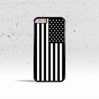 Black & White American Flag Case Cover for Apple iPhone 4 4s 5 5s 5c 6 6 Plus & iPod Touch