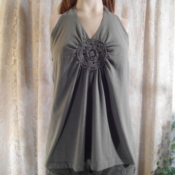 Size Large Vintage Army Green Halter Top Hippie Boho Disco Summer Marilyn Monroe Style Clothes 70's 80's 90' Clothing Wraps around Back Lace