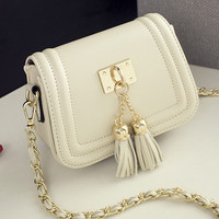 2016 Spring and Summer Mini Tassel Chain Bag Women Small Bags Pu Leather Women Shoulder Bag Women Clutches