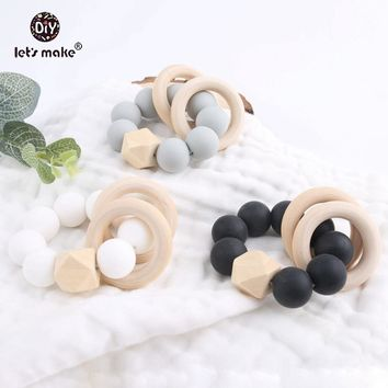 Let's Make 2PC Silicone Rattle Sensory Activity Teether Rattle Sensory Chewing Toy Food Grade Silicone Teether Nursing Bracelet