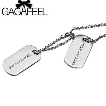 GAGAFEEL Personalized Engraved Names DIY Men Jewelry Stainless Steel necklace Army Military Card Pendant Necklaces