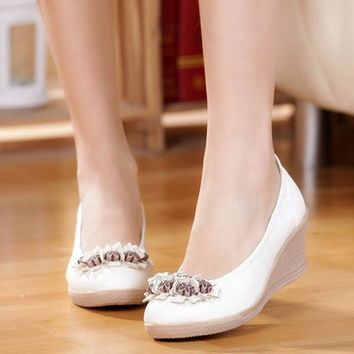 Summer Women Wedges Platform Shoes Leather  Pumps Sweet Flower Decor Slip