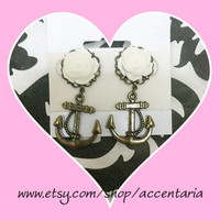 Vintage white rose anchor earrings