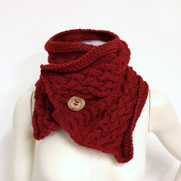 Cranberry Red Cowl, Knit Neck Warmer, Chunky Button Scarf, Cable Knit Cowl, Red Wrap Cowl, Wood Button Cowl,Big Neck Warmer,Wool Chunky Cowl