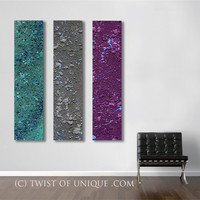 AcryliCrete Abstract Painting, CUSTOM 3 panel (50 Inches x 12 Inhces)  abstract wall art - Purple, gray, sky blue, green, dark blue