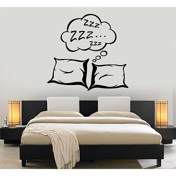 Vinyl Wall Decal Pillows Sleep See Dream Bedroom Decoration Stickers Mural (g402)