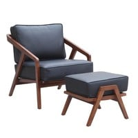 Fine Mod Imports Inspot Lounge Chair and Ottoman, Gray