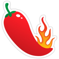 Red chili pepper jalapeno with flame sticker. by Mhea