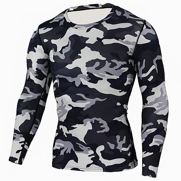 Military USA Army mens base layer camo camouflage long sleeve compression shirt