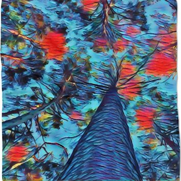 Blue and red trees bandana, forest themed kerchief, abstract nature pattern scarf design