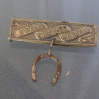 Vintage Pin or Tie Bar/Clip with Horseshoe and Unity, Charity, Loyalty