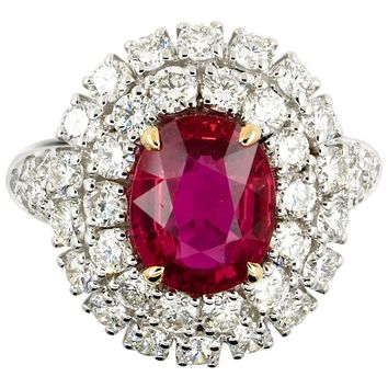 5.31 Carat GRS Certified Unheated Red Ruby and Diamond Ring