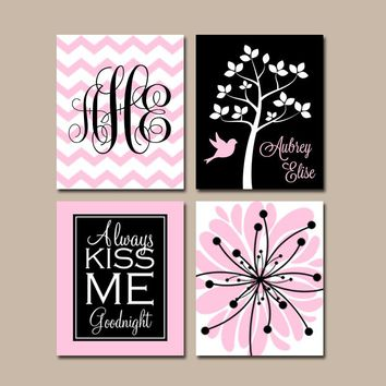 PINK BLACK Nursery Wall Art, CANVAS or Prints Baby Girl Nursery Wall Art, Monogram Flower Tree Bird Girl Bedroom Kiss Me Goodnight Set of 4