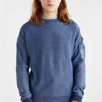 Deus Ex Machina Warren Washed Crew Neck Sweater- Blue