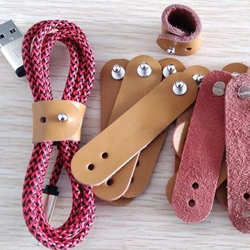 5pcs/lot Genuine Leather Buckle Earphone Cable Winder Cable Wire Organizer Cord Holder For iphone samsung USB Charger Data Lines