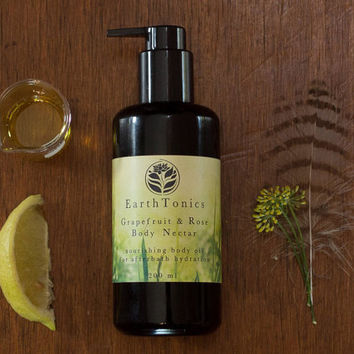 Grapefruit & Rose Body Nectar, Nourishing After Bath Body Oil by EarthTonics Skincare (200 ml)