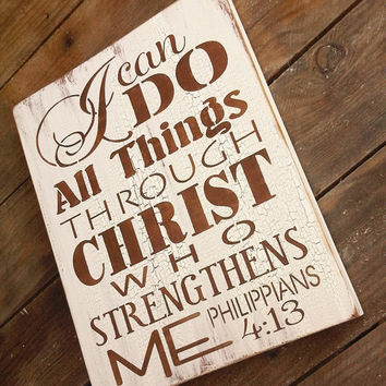 """Scripture Sign, Kitchen Sign """"I can do all things through Christ who strengthens me"""" - typograpy subway art style handpainted sign"""