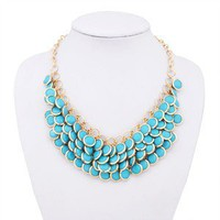 2012 Unique fashion design Blue Layered Gem Beads Bib Necklace free shipping | eBay