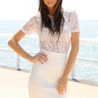 White Dress with Lace Top and A-Line Structured Skirt
