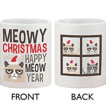 Cute Grumpy Cat Holiday Coffee Mug - Meowy Christmas and a Happy Meow Year