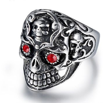OBSEDE Punk Gothic Titanium Stainless Steel Casting Skull Cross Ring Red CZ Eyes for Men Jewelry Vintage Biker Party Gift