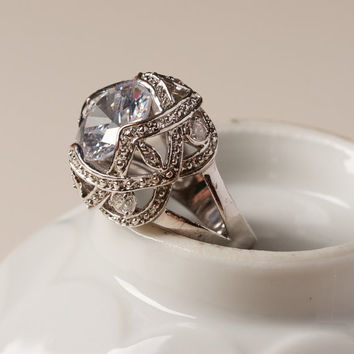 Vintage Silvertone Cocktail Ring